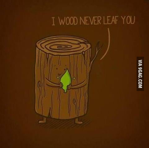 I wood never leaf you.