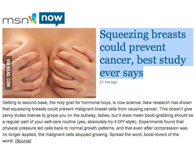 Best study ever: Squeezing breasts could prevent cancer!