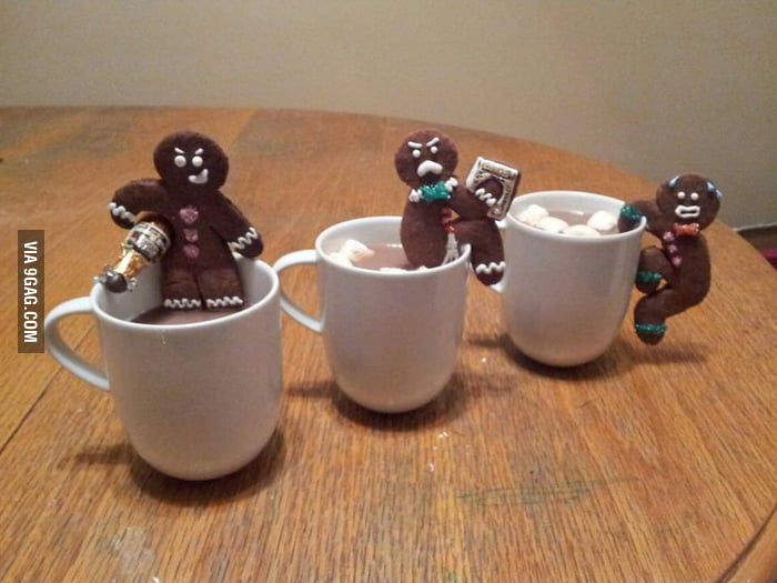These gingerbread men are having fun.