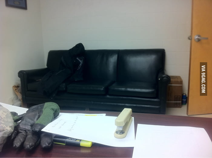 Visitng a friend's office. That couch looks familiar.
