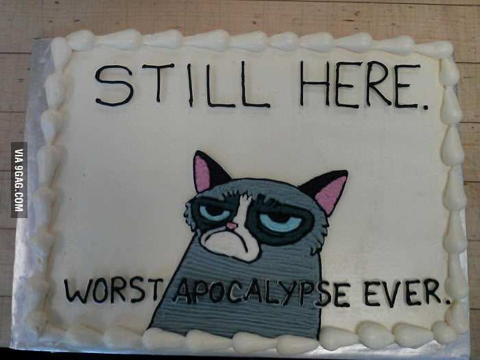 "My friend made an ""end of the world themed"" cake."