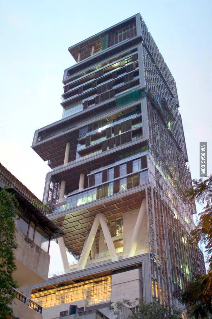 Antilia, the world's most expensive home owned by one man.