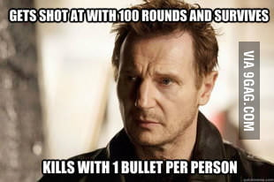 Liam Neeson doing what he does best