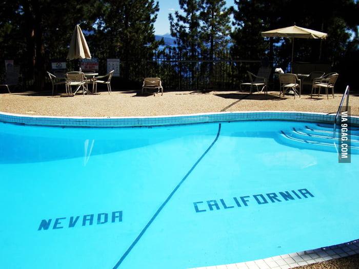 The Nevada/California state line runs through this pool.