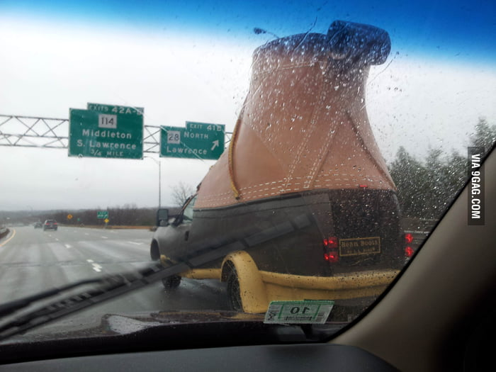 Saw a big boot on the road when driving.