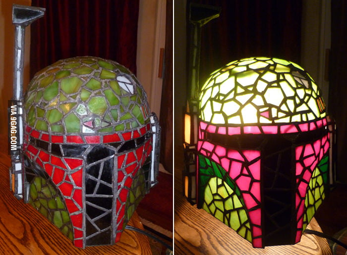 Boba Fett Stained Glass Lamp