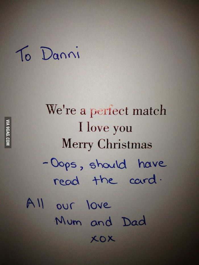 GF got this card from her parents and the inside made us lol