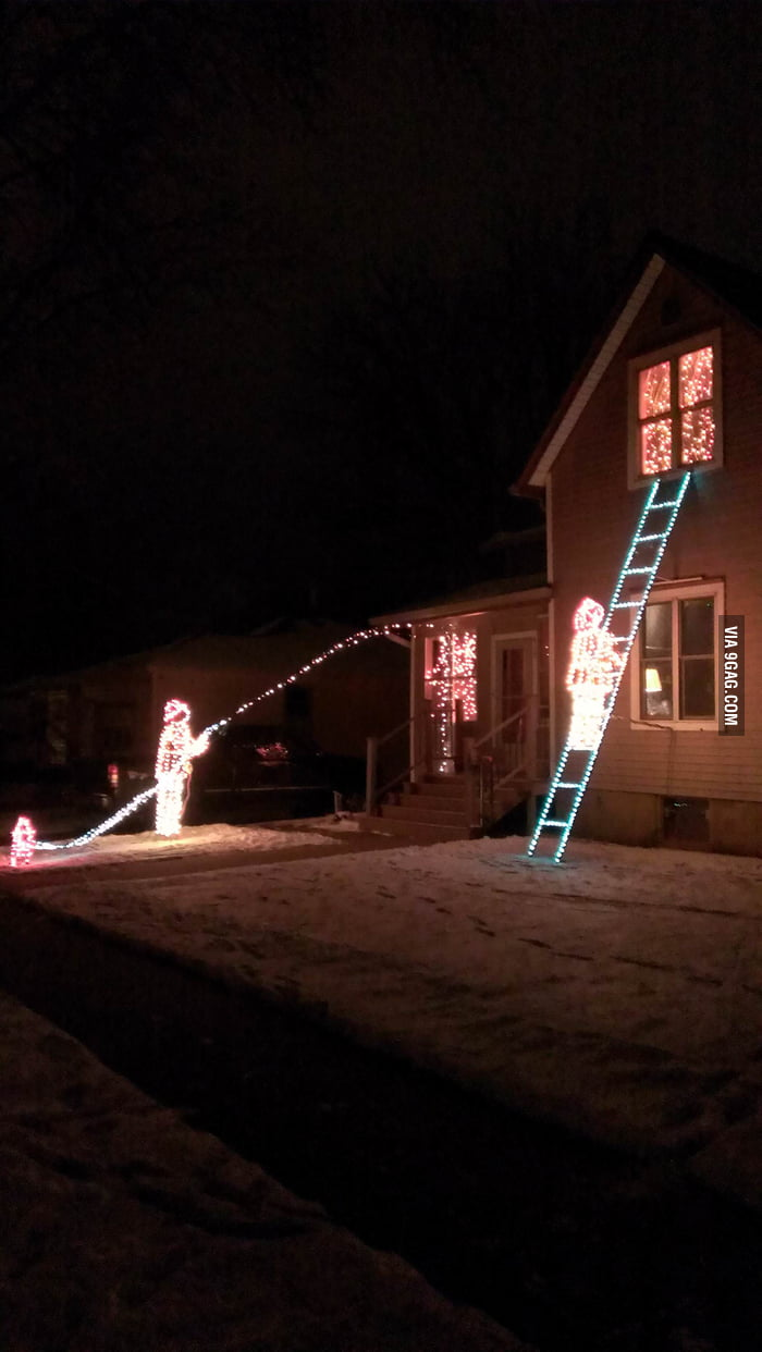 My neighbor is a fireman and these are his Christmas decorat