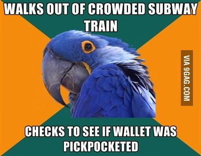 Walks out of crowded subway train