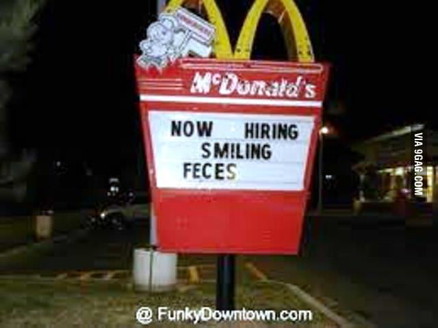Image result for now hiring smiling feces