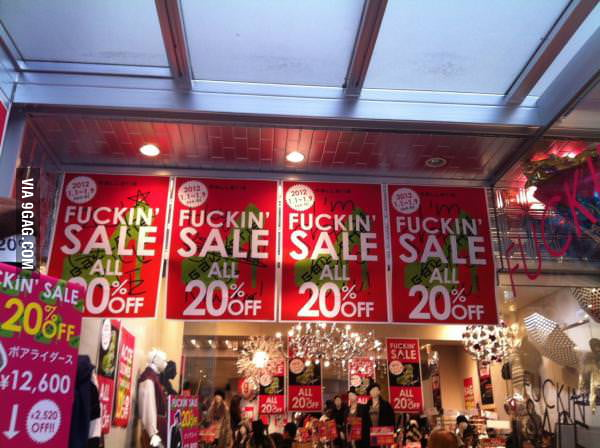 Sale in Japanese shopping centre