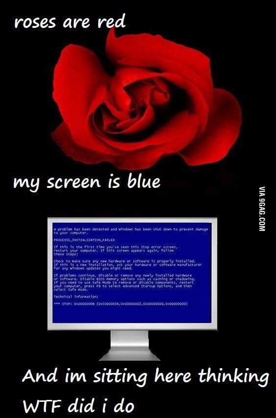 Screen is blue