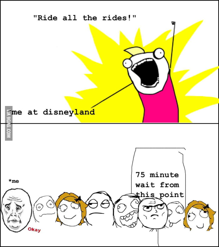 When I go to amusement parks during the holidays.