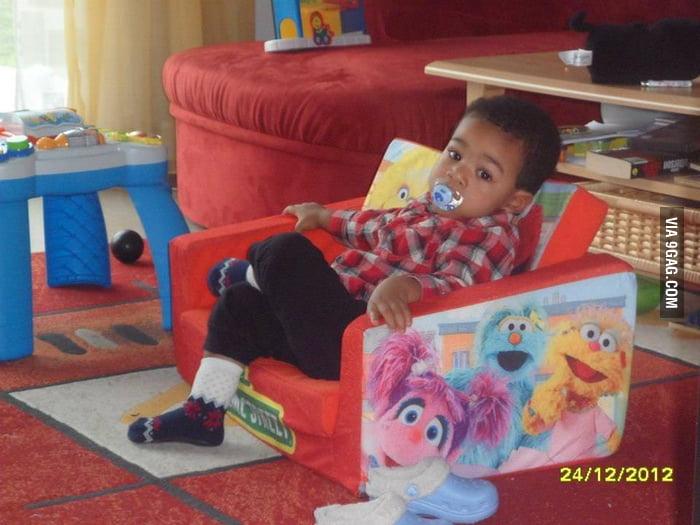 Sitting like a boss in kindergarten.