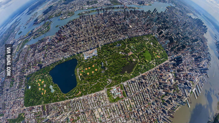 Central Park in New York City from 2500ft.