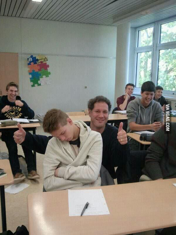 Saw this on my teacher's Facebook. He's the thumbs up guy.