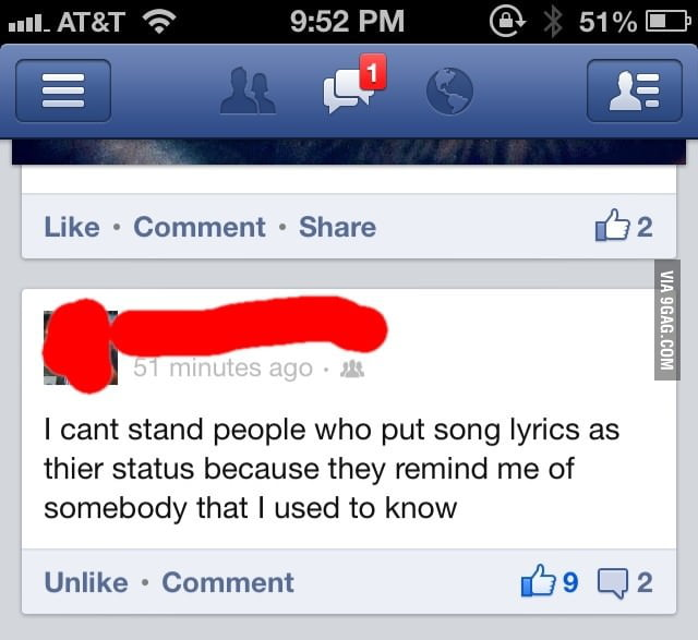 I can't stand peopel who put song lyrics as their status...