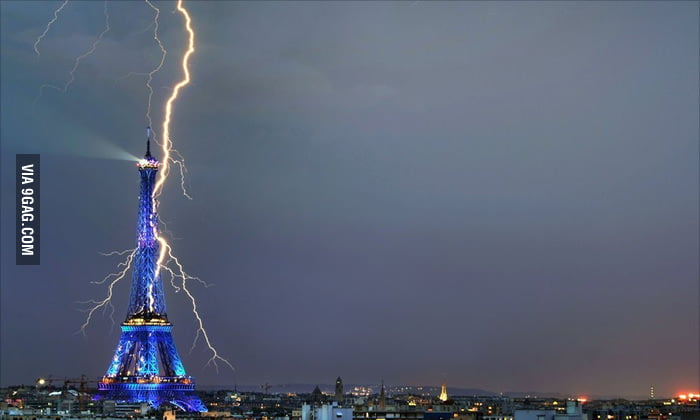 Lightning striking the Eiffel Tower.