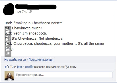 Wife sounds like Chewbacca [FB]