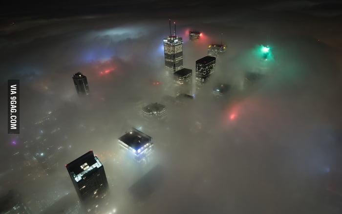 Toronto in fog.