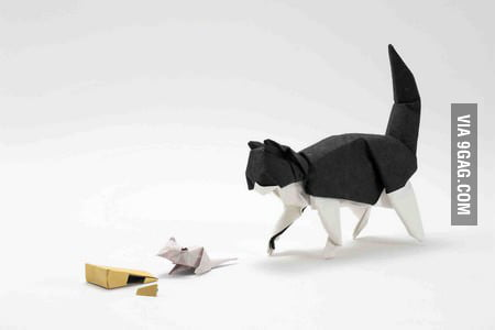 Cat, mouse, cheese origami