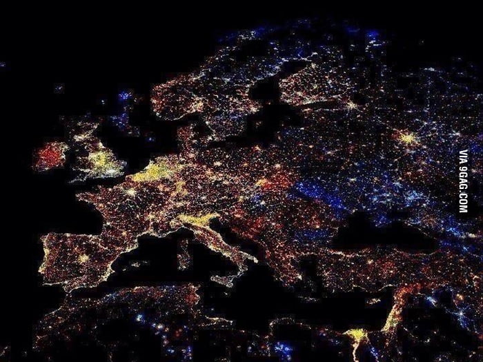 Night time in Europe.