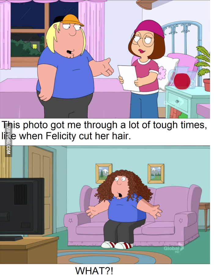 Like when Felicity cut her hair...