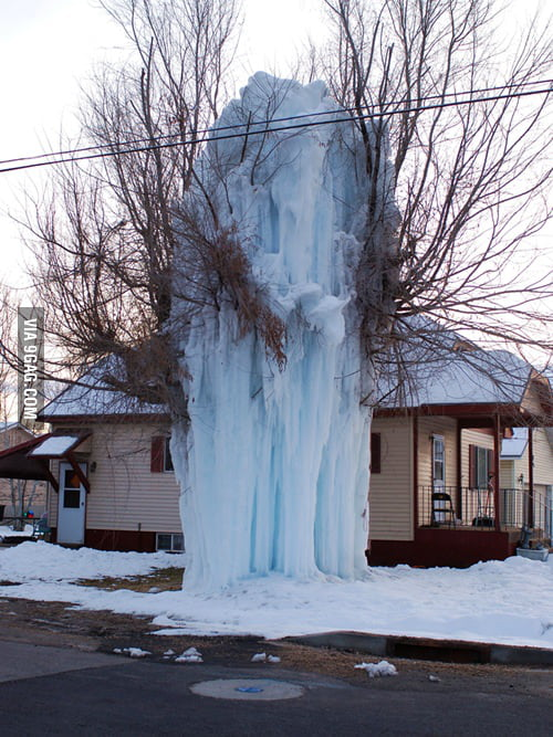 An exploded water hose in subzero temperature.