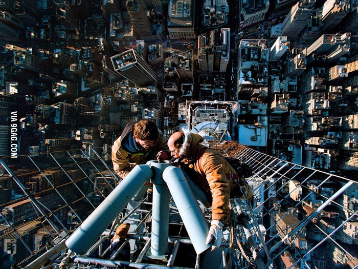 Cleaning the antenna of the Empire State Building.