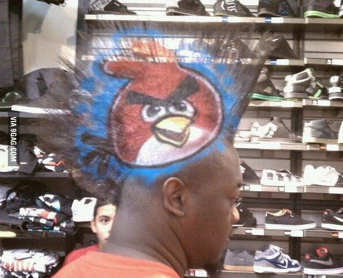 He must be a big Angry Birds fan!
