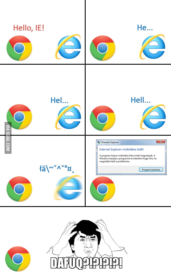 Google Chrome vs Internet Explorer - 9GAG