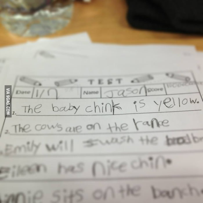 "A student mispelt ""chick"" on his test."