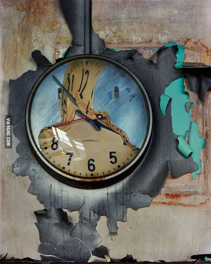 A clock melted in a fire.