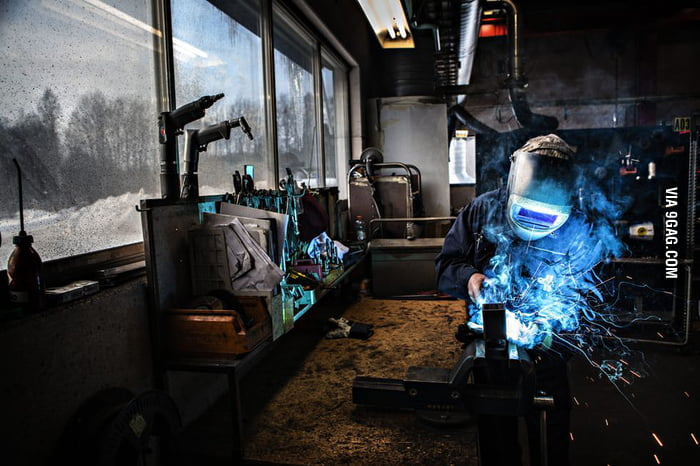 A snapshot of a welder in action.