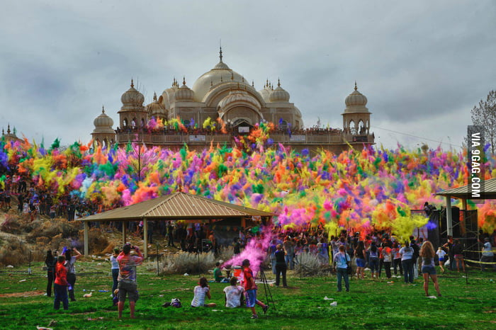 Festival of Colors at Sri Sri Radha Krishna Temple in Utah.