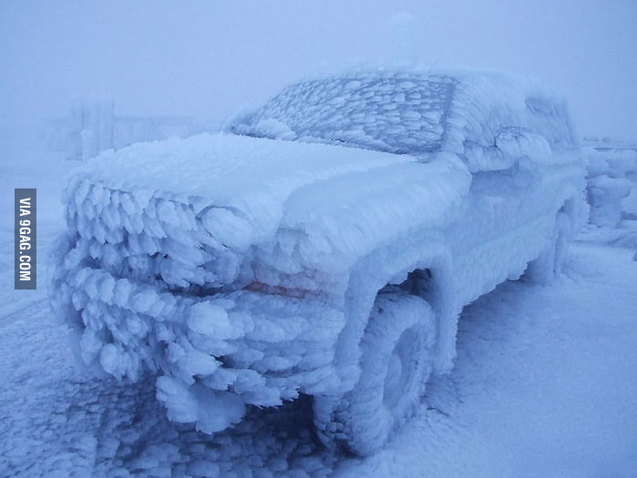 Icy truck at the top of Mount Washington.