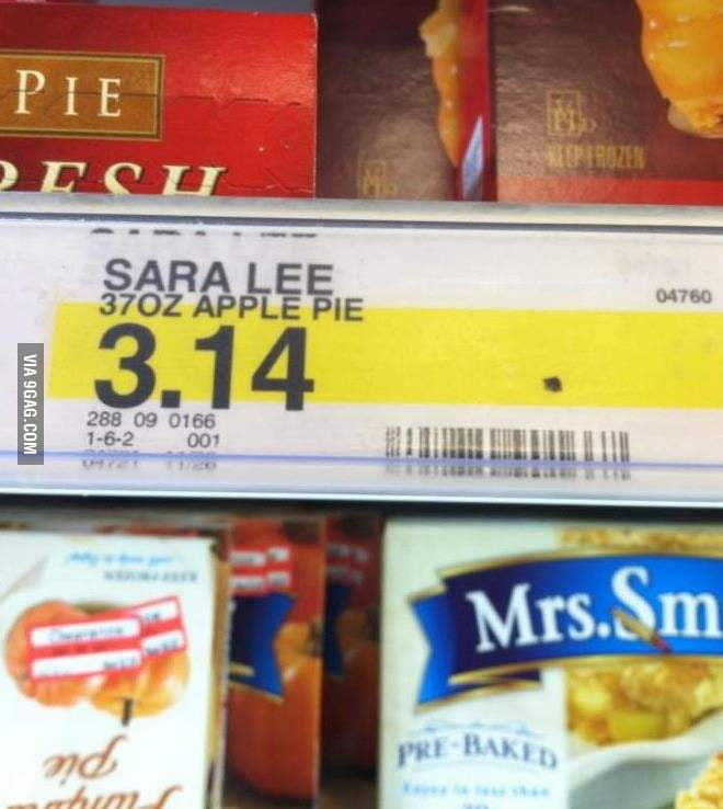 What's the price of the pie? $3.14.