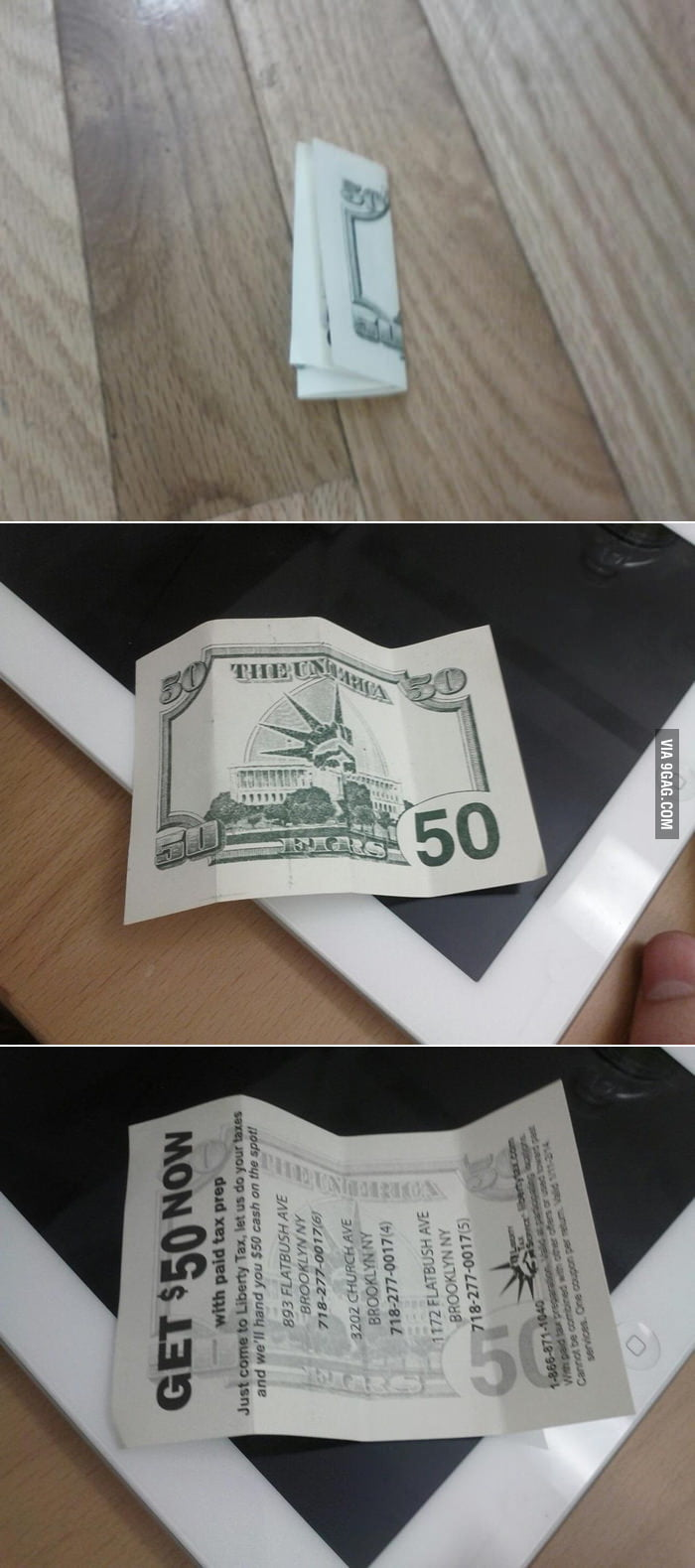 Yay! Found $50 on the floor... f**k you!
