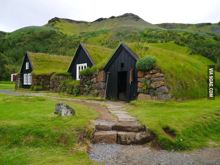 These Turf Farmhouses in Iceland look like Hobbit-holes.