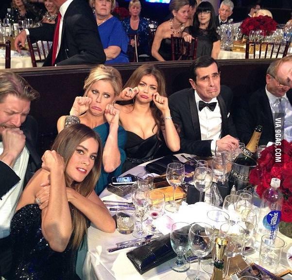 The Modern Family's reaction to not winning a Golden Globe.
