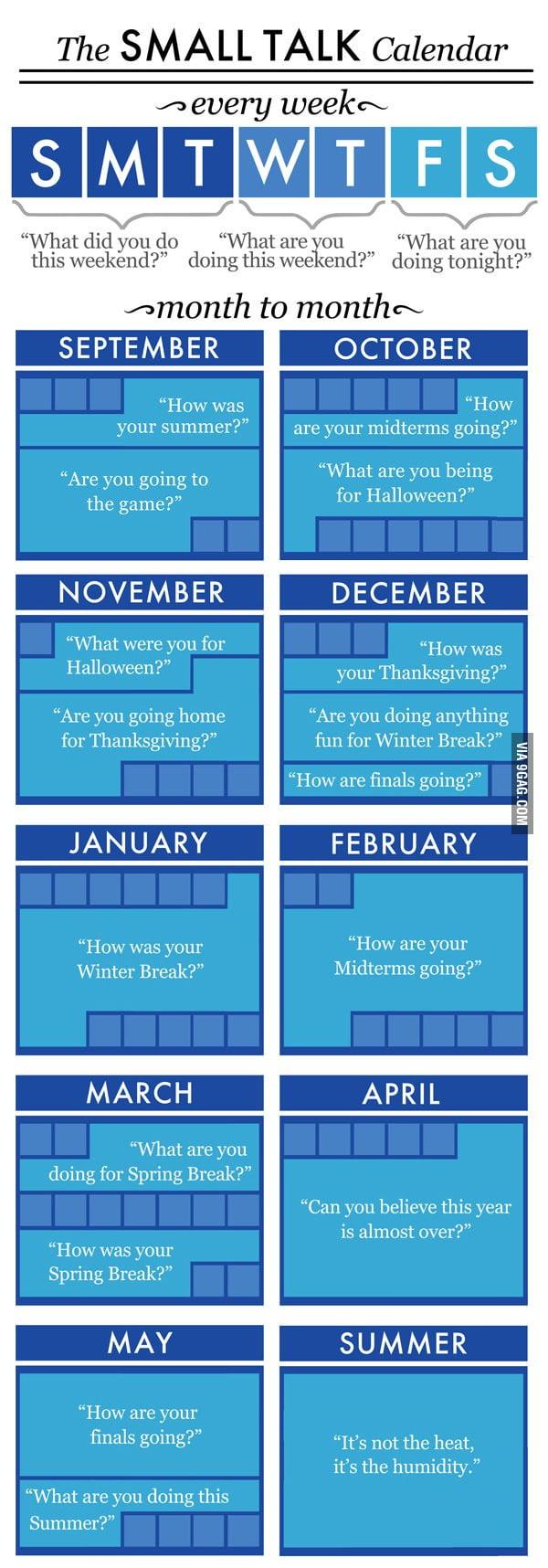 The Small Talk Calendar