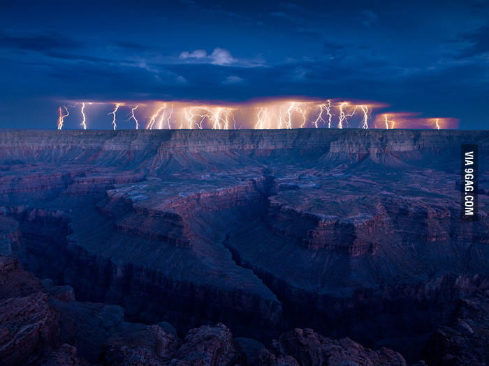 Lightning over the Grand Canyon.