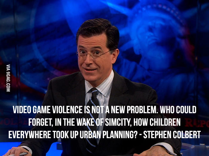 Stephen Colbert on video game and gun violence.