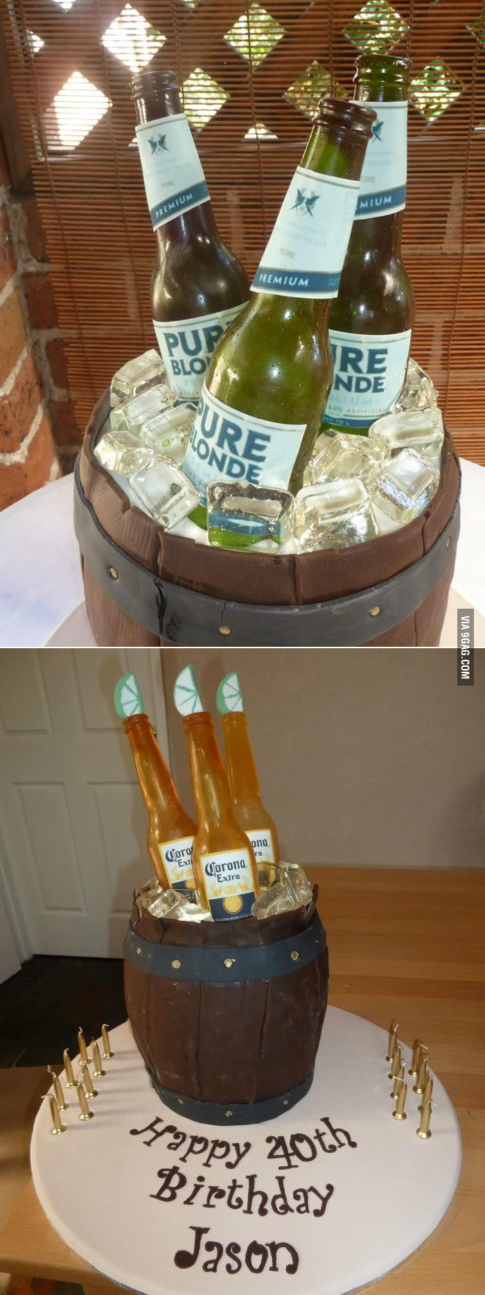 "The whole beer cake is edible, including the ""bottles""!"
