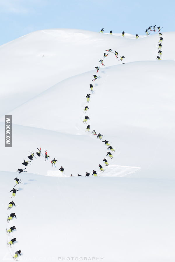 50 shot sequence of a skier descending a slope.