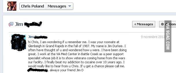 I received a message in my fanpage, I'm not Chris Poland....