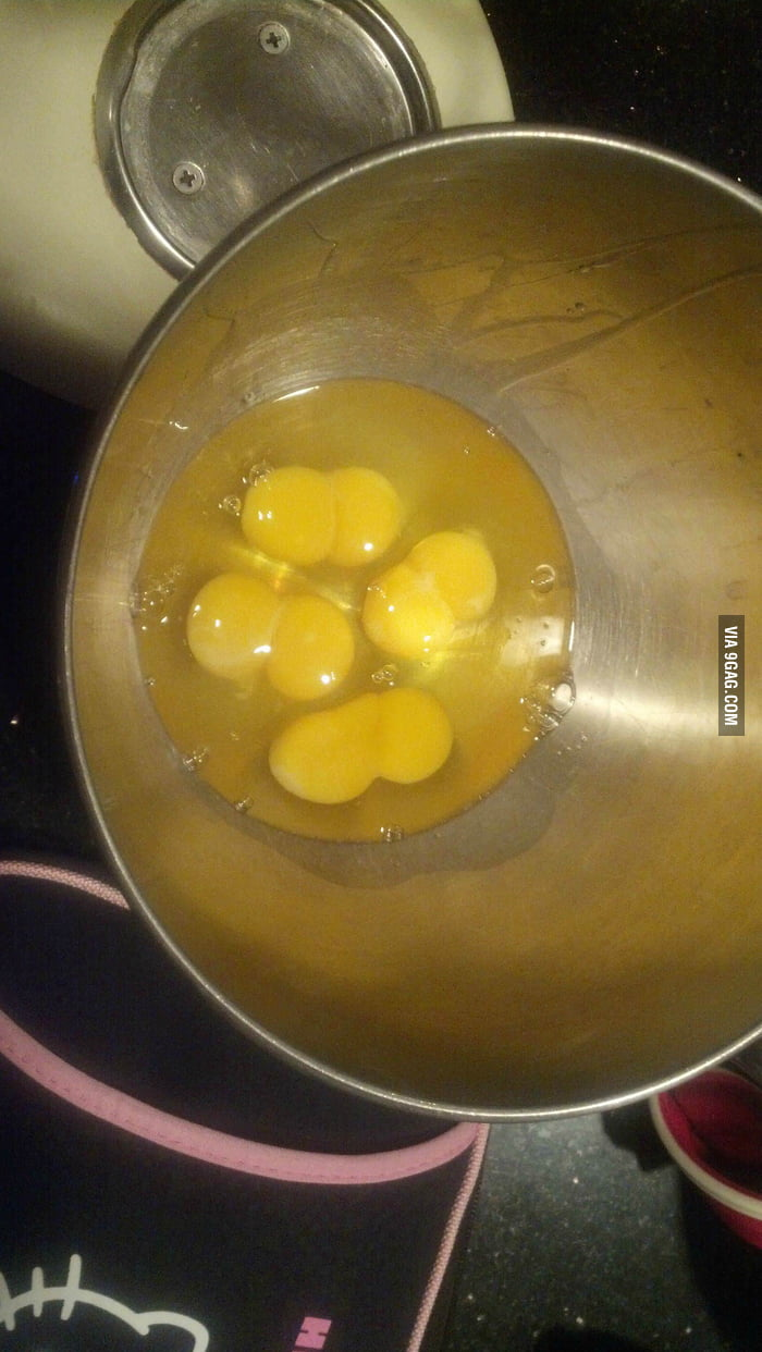Cracked four eggs but got 8 yolks.