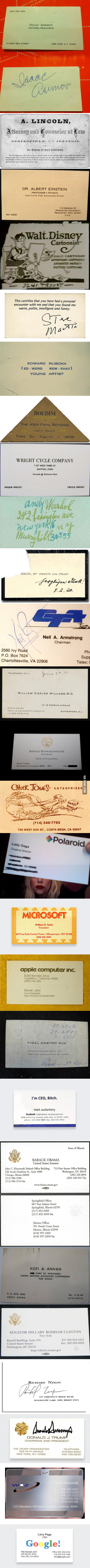 Some famous people's business cards
