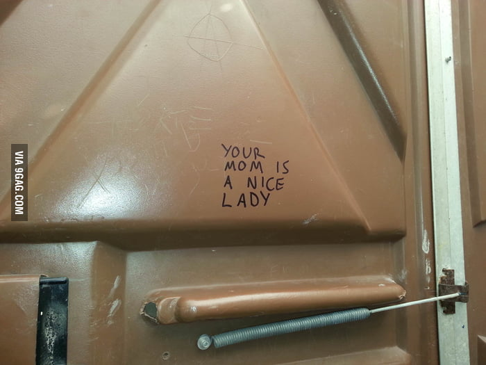 Unconventional toilet graffiti.