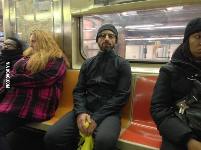 "Saw Sergey Brin with a pair of ""ugly glasses"" on subway."